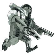 isolated running armored robot warrior vector 3d model my own drawing - stock illustration