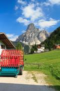 Sassongher mount from Corvara Stock Photos