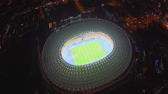 View of soccer arena from top, stadium, sporting event, aerial Stock Footage