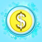 blue snowy circle frame with frozen dollar coin inside vector illustration - stock illustration