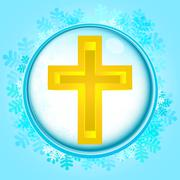 Blue snowy circle frame with frozen holy cross inside vector illustration Stock Illustration