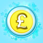 Stock Illustration of blue snowy circle frame with frozen pound coin inside vector illustration
