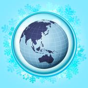 Stock Illustration of blue snowy circle frame with frozen asia world inside vector illustration