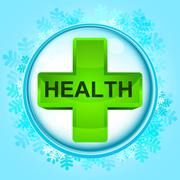 Blue snowy circle frame with frozen health box inside vector illustration Stock Illustration
