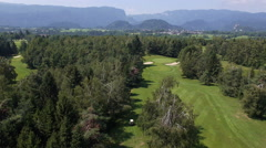 Aerial, slow motion - Forest golf resort Stock Footage