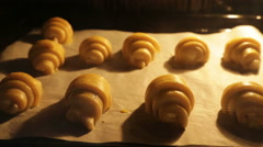 Baking croissants - stock footage
