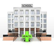 health cross in front of modern school building illustration - stock illustration