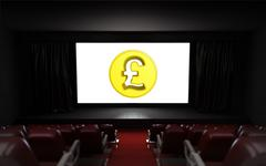 empty cinema auditorium with pound coin on the screen illustration - stock illustration