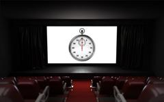 empty cinema auditorium with timescale advertisement on the screen - stock illustration
