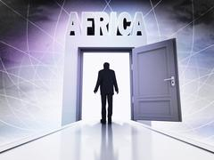walking person to explore africa in magic doorway background illustration - stock illustration
