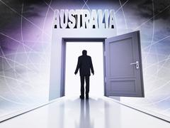 Person going to visit australia behind magic doorway background illustration Stock Illustration
