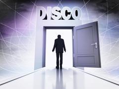 person going to disco through magic doorway background illustration - stock illustration