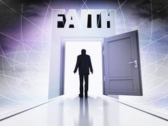 person finding his faith behind magic doorway background illustration - stock illustration