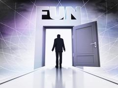 person going tohave fun behind magic doorway background illustration - stock illustration