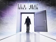 Walking person to get innovation behind magic doorway background illustration Stock Illustration