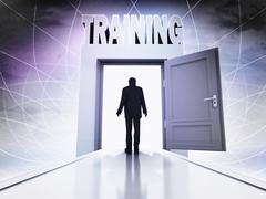 walking person to have training behind magic doorway background illustration - stock illustration