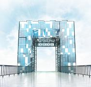 Stock Illustration of grand entrance through modern gateway architecture illustration
