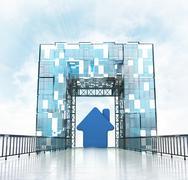 Stock Illustration of new house under grand entrance gateway building illustration