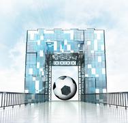 Soccer ball under grand entrance gateway building illustration Stock Illustration