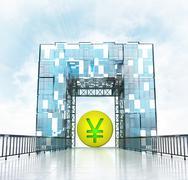 Stock Illustration of golden yuan coin under grand entrance gateway building illustration
