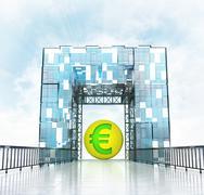 Stock Illustration of golden euro coin under grand entrance gateway building illustration
