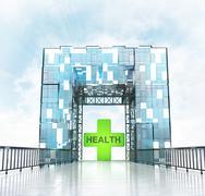 Stock Illustration of health under grand entrance gateway building illustration