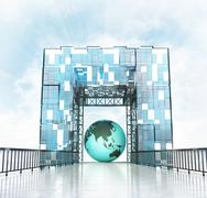 Stock Illustration of asia earth globe under grand entrance gateway building illustration