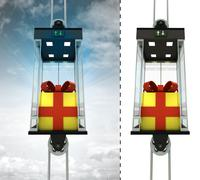 Gift wrapping in sky elevator concept also isolated one illustration Stock Illustration