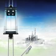 Empty sky space elevator concept above city illustration Stock Illustration
