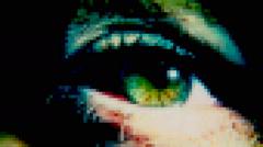 Eye sick green monster pixelated Stock Footage