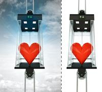 Love heart in sky elevator concept also isolated one illustration Stock Illustration