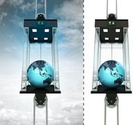 Asian earth globe in sky elevator concept also isolated one illustration Stock Illustration