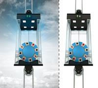 Poker chip in sky elevator concept also isolated one illustration Stock Illustration