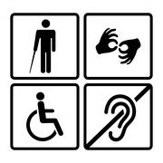 Vector disabled signs - stock illustration