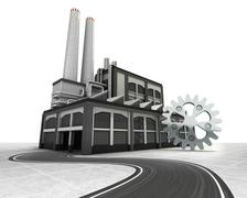 industrial cogwheel with factory supply road concept illustration - stock illustration