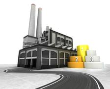 Stock Illustration of champion stand with factory supply road concept illustration