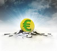 Stock Illustration of golden euro coin strike into ground with flare and sky illustration