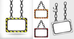 on chain hanged board concept collection vector illustration - stock illustration
