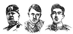 Stock Illustration of mussolini, hitler and hirohito portraits