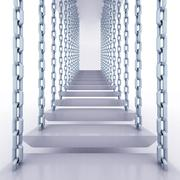 chain hanged staircase steps to go up render illustration - stock illustration