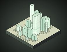 isometric view to office city night scene 04 illustration - stock illustration
