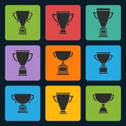 Vector black trophy cup icons set - stock illustration