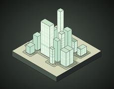 isometric view to office city night scene 03 illustration - stock illustration