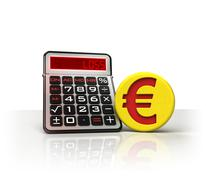 Euro golden coin with negative business calculations  isolated on white illus Stock Illustration