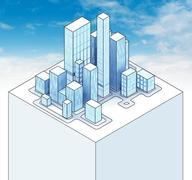 isometric view to office city sky scene 02 illustration - stock illustration