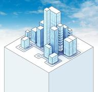 isometric view to office city sky scene 01 illustration - stock illustration