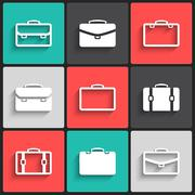 Vector briefcase white  icons Stock Illustration