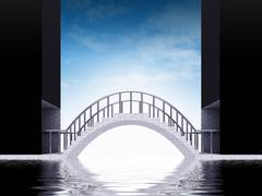 bridge arch scene over water with sky render illustration - stock illustration