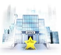 top rating star in front of office building as business city concept render - stock illustration