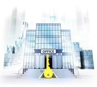 golden key in front of office building as business city concept render - stock illustration